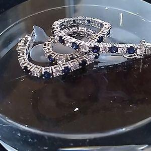 Absolute created sapphire and CZ bracelet
